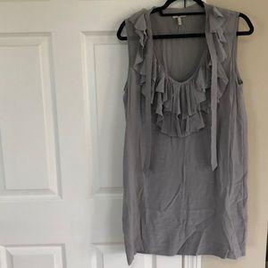 Joie Grey Silk Ruffle Dress